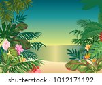 background with tropical plants ... | Shutterstock .eps vector #1012171192