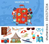 vacation and tourism banner... | Shutterstock .eps vector #1012171216
