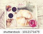 a tray with coffee and... | Shutterstock . vector #1012171675