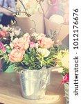 a bouquet of beautiful flowers  ...   Shutterstock . vector #1012176676