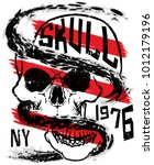 skull fashion tee graphic design | Shutterstock .eps vector #1012179196