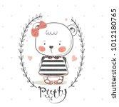 cute bear with bow.cartoon hand ... | Shutterstock .eps vector #1012180765
