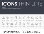 set of surfing thin line vector ... | Shutterstock .eps vector #1012184512