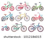 Urban Family Bikes Flat Vector...