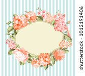 oval frame invitation card with ... | Shutterstock .eps vector #1012191406