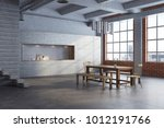 white dining room interior with ... | Shutterstock . vector #1012191766