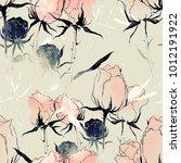 imprints fading flowers mix... | Shutterstock . vector #1012191922