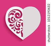 cutout paper heart silhouette... | Shutterstock .eps vector #1012193632