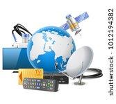 vector globe with satellite... | Shutterstock .eps vector #1012194382