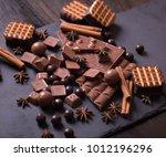 broken chokolate bars and... | Shutterstock . vector #1012196296