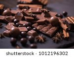 broken chokolate bars and... | Shutterstock . vector #1012196302