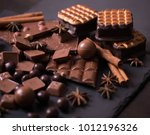 broken chokolate bars and... | Shutterstock . vector #1012196326