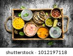 various canned products in tin... | Shutterstock . vector #1012197118