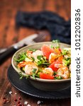 delicious fresh salad with... | Shutterstock . vector #1012202836