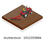 isometric tractor works in a...   Shutterstock .eps vector #1012203886