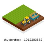 isometric tractor works in a... | Shutterstock .eps vector #1012203892