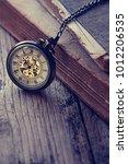 vintage antique pocket watch...   Shutterstock . vector #1012206535