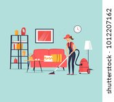 cleaning of apartments. woman... | Shutterstock .eps vector #1012207162