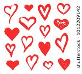 set of red vector grunge hand... | Shutterstock .eps vector #1012209142