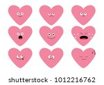 cute pink heart shape emoji set.... | Shutterstock .eps vector #1012216762