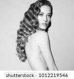 black and white art portrait of ... | Shutterstock . vector #1012219546