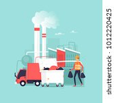 garbage processing plant. truck.... | Shutterstock .eps vector #1012220425
