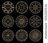 esoteric geometric pentagrams.... | Shutterstock .eps vector #1012223116