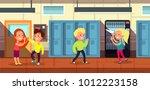 schoolchildren in school...   Shutterstock .eps vector #1012223158