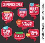 modern origami sale stickers... | Shutterstock .eps vector #1012223332
