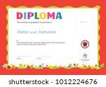 kids summer camp diploma or... | Shutterstock .eps vector #1012224676