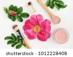 rose aroma cosmetic products... | Shutterstock . vector #1012228408