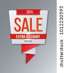 red abstract sale banner. extra ... | Shutterstock .eps vector #1012230595