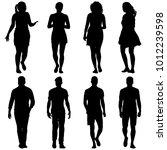 black silhouette group of... | Shutterstock . vector #1012239598