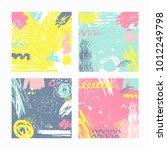 trendy set of brush strokes... | Shutterstock .eps vector #1012249798
