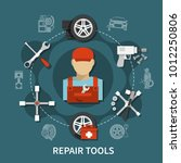 tire service concept with car... | Shutterstock .eps vector #1012250806