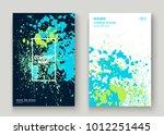 neon blue white explosion paint ... | Shutterstock .eps vector #1012251445