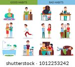 good and bad habits collection  ... | Shutterstock .eps vector #1012253242