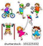 set of active kids  vector... | Shutterstock . vector #101225332