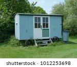 shepherd hut on an allotment in ... | Shutterstock . vector #1012253698