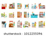 people shopping in department... | Shutterstock .eps vector #1012255396