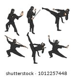 set of japanese ninja warriors... | Shutterstock .eps vector #1012257448