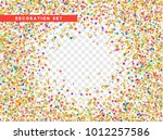 colorful confetti and gold... | Shutterstock .eps vector #1012257586