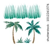 vector set of tropical long... | Shutterstock .eps vector #1012261576