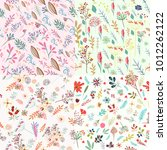 big set of floral cute patterns ... | Shutterstock .eps vector #1012262122