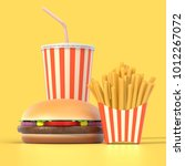 fast food set in generic... | Shutterstock . vector #1012267072