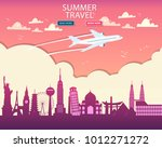 travel to world. vacation. trip ... | Shutterstock .eps vector #1012271272