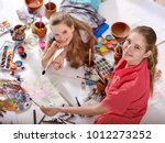 authentic artist children girl... | Shutterstock . vector #1012273252