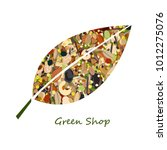 cute leaf shape logo from nuts  ... | Shutterstock .eps vector #1012275076