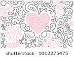 scandinavian folk heart vector... | Shutterstock .eps vector #1012275475