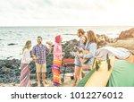 group of happy friends... | Shutterstock . vector #1012276012